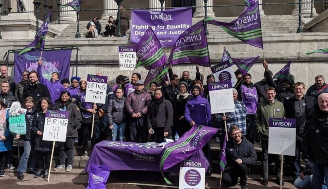 Group of UNISON Members at a protest
